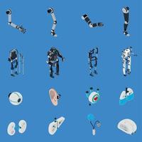 Exoskeleton Bionic Prosthetics Icons Set Vector Illustration