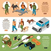 Hunting Isometric Banners Vector Illustration