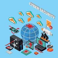 Ilustración de vector de concepto isométrico de seguridad cibernética