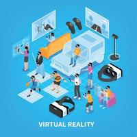 Virtual Reality Isometric Composition Vector Illustration