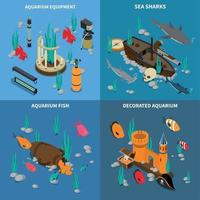Aquarium Concept Icons Set Vector Illustration