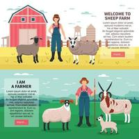 Sheep Breeding Flat Banners Vector Illustration