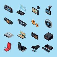 Car Electronics Icons Set Vector Illustration