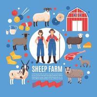Sheep Breeding Farm Poster Vector Illustration