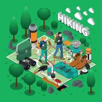 Camping Isometric Composition Vector Illustration