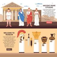 Ilustración de vector de banners horizontales de roma antigua