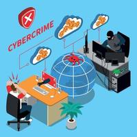 Cyber Crime Isometric Concept Vector Illustration