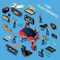 Ilustración de vector de concepto de servicio y electrónica de coche