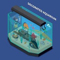 Ilustración de vector de composición isométrica de acuario decorado