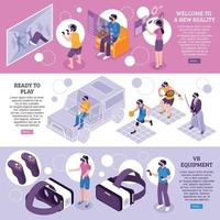 Virtual Reality Isometric Banners Vector Illustration