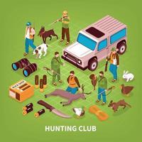 Ilustración de vector de cartel isométrico de club de caza