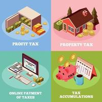 Taxes 2x2 Isometric Design Concept Vector Illustration