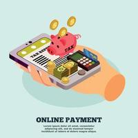 Online Payment Isometric Design Concept Vector Illustration
