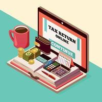 Ilustración de vector de fondo isométrico de contabilidad e impuestos