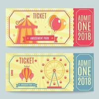 Amusement Park Tickets Set Vector Illustration