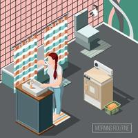 Morning Routine Isometric Composition Vector Illustration