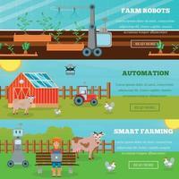 Ilustración de vector de banners horizontales de agricultura inteligente