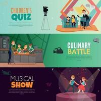 programa de televisión, niños, horizontal, pancartas, vector, ilustración vector