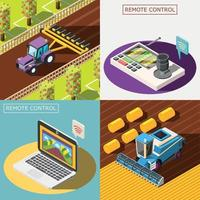 Agricultural robots 2x2 design concept Vector Illustration