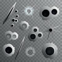 Shot Holes Transparent Collection Vector Illustration