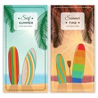Surfing Resort Vertical Banners Vector Illustration