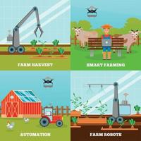 Ilustración de vector de concepto de diseño de agricultura inteligente 2x2
