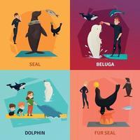 Dolphinarium Show Concept Icons Set Vector Illustration