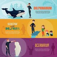 Dolphinarium Show Banners Set Vector Illustration