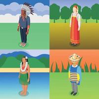 Multinational World Culture 2x2 Design Concept Vector Illustration