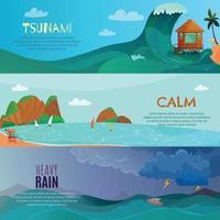 Seaside Landscapes Banners Set Vector Illustration