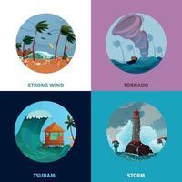 Seaside Landscapes Concept Icons Set Vector Illustration