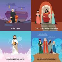 Bible Story Concept Icons Set Vector Illustration