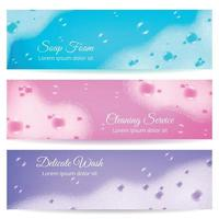 Soap Foam Realistic Banners Vector Illustration