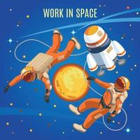 Work In Space Isometric Composition Vector Illustration