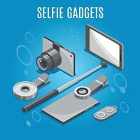 Isometric Selfie Gadgets Background Vector Illustration
