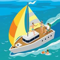 Rich People Yacht Isometric Illustration Vector Illustration