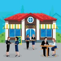 Colored Flat Business Lunch People Concept Vector Illustration