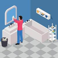 Spring Cleaning Isometric Background Vector Illustration