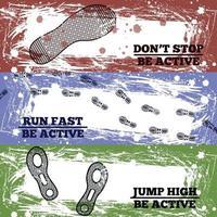 Sport Shoes Footprints Banners Vector Illustration