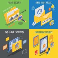 Internet Threats 2x2 Design Concept Vector Illustration