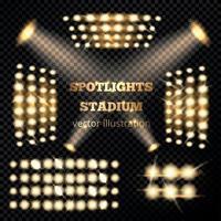 Stadium Spotlights Gold Set Vector Illustration
