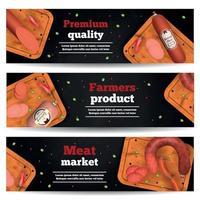 Ilustración de vector de banners horizontales de mercado de carne
