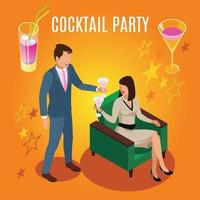 Cocktail Party Rich People Composition Vector Illustration