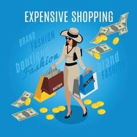 Expensive Shopping Rich Lady Composition Vector Illustration