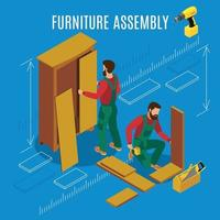 Furniture Assembly Isometric Illustration Vector Illustration