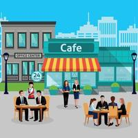 Business Lunch People Colored Composition Vector Illustration