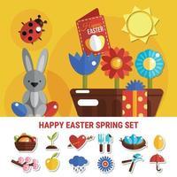 Spring Easter Flat Set Vector Illustration