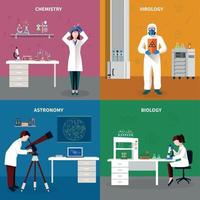 Scientists People Concept Set Vector Illustration