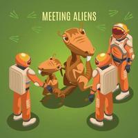 Space Exploration Meeting Aliens Composition Vector Illustration