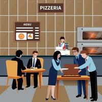 Flat Business Lunch People Composition Vector Illustration